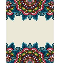 Indian doodle floral frame vertical vector image vector image