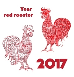 Set of red roosters Hand-drawn doodle contour vector image vector image
