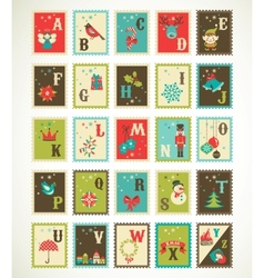 Christmas retro alphabet with cute xmas icons vector image vector image