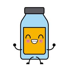 empty glass bottle kawaii cartoon vector image vector image