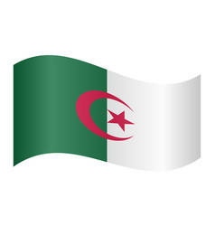 flag of algeria waving on white background vector image vector image