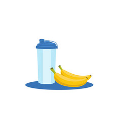 health fresh food with sport water bottle food vector image