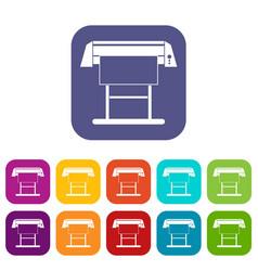 large format inkjet printer icons set vector image