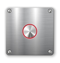 Metallic button on square plate vector