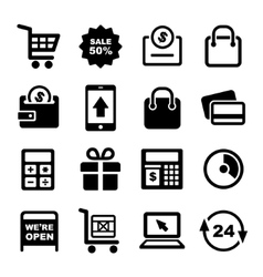 Shopping and Supermarket Services Icons Set vector image