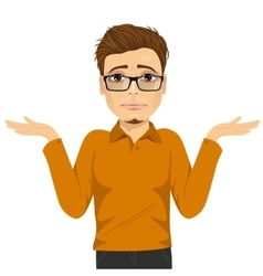 young man with glasses in doubt vector image