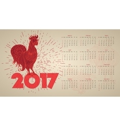 2017 Vintage calendar with red rooster vector image vector image