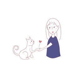 cat shake hand with girl vector image