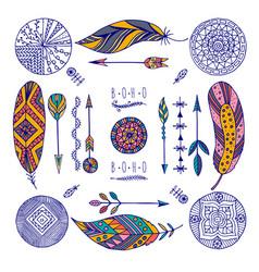 color set of boho elements vector image
