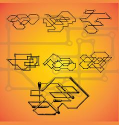 set of seven mechanical schemes vector image vector image