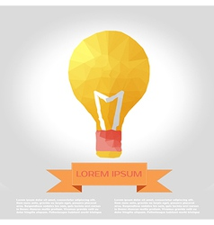bulb polygon infographic element with flat color vector image