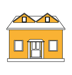 color silhouette cartoon yellow facade house with vector image