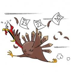 scared turkey vector image vector image