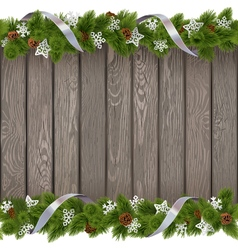 Seamless Christmas Old Board with Paper Snowflakes vector image vector image