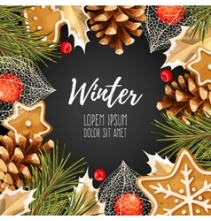 Winter card with gingerbread vector image vector image