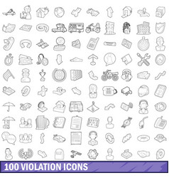 100 violation icons set outline style vector image