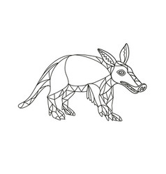 Aardvark black and white mono line vector