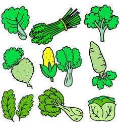 Art of fresh vegetables doodles vector