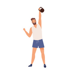 Athletic male lifting kettlebell demonstrate power vector
