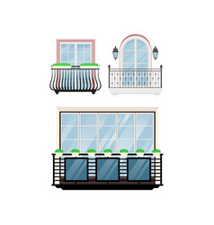 Balcony vintage balconied railing windows vector