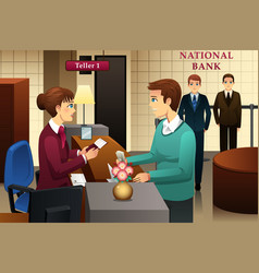 Bank teller servicing a customer in the bank vector