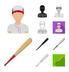 Baseball and attributes cartoonblackflat vector