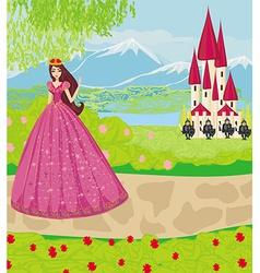 Beautiful princess and knights guard entrance vector