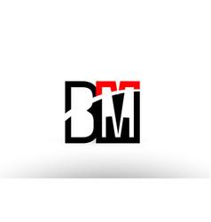 Black white alphabet letter bm b m logo icon vector