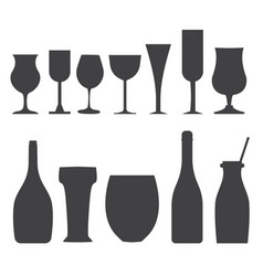 Bottles and glasses outline icons vector