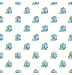 Bucket and shovel for children sandbox pattern vector
