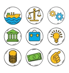 Business colorful icons set for web or vector image