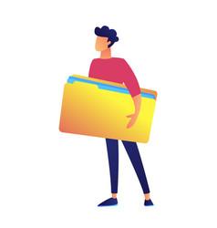 businessman holding big opened file folder vector image