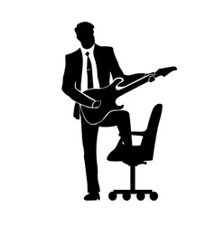 businessman silhouette with a guitar a successful vector image