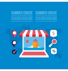 Buying travel tickets online Cruise trip booking vector