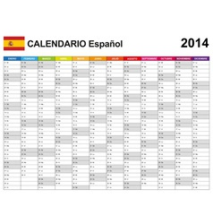 Calendar 2014 Spain Type 12 vector image