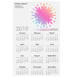 calendar design for 2019 simple white background vector image