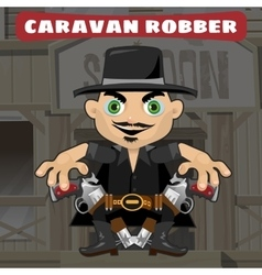 Cartoon character in Wild West - caravan robber vector image