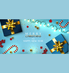 christmas greeting card with garland gifts boxes vector image