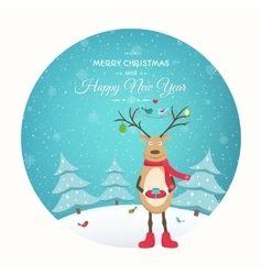 Christmas New Year card funny reindeer character vector image