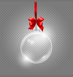 christmas toy glass globe with red silk ribbon vector image
