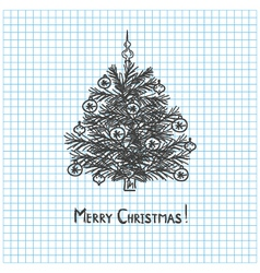 Christmas tree drawn in pen notebook vector