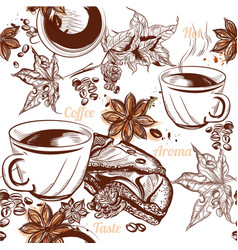 Coffee seamless background with engraved coffee vector