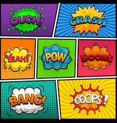 comic speech bubbles background divided lines vector image