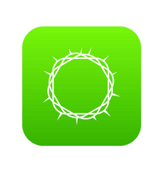 Crown of thorns icon digital green vector