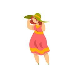 curvy overweight girl in fashionable clothes vector image