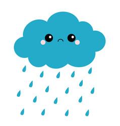 cute cartoon kawaii dark cloud with rain drops vector image