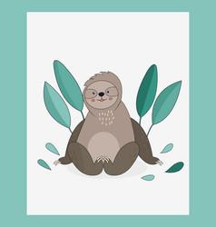 Cute sloth sitting in green leaves vector