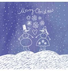 cute snowmans vector image
