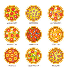 Delicious pizzas with various fillings and flavors vector