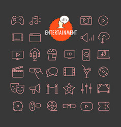 different entertainment icons collection web and vector image
